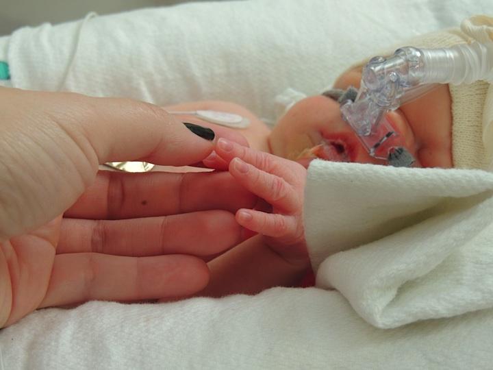 hand holding newborn baby hand in hospital
