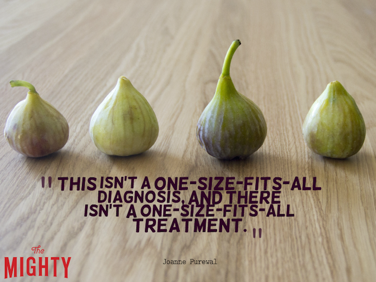 "Four figs on a wooden table with the text: ""This isn't a one-size-fits-all diagnosis, and there isn't a one-size-fits-all treatment."""