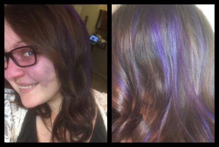 Crystal with purple streaks in her hair.