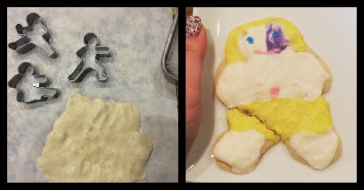 The left image shows a blob of doe and cookie cutters that looks like people. On the right is a cookie with a birth mark on its face.