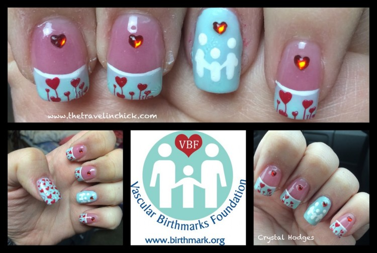 Crystal's nails. They are light blue with red hearts except for the middle -- which is light blue with three white figures holding hands.