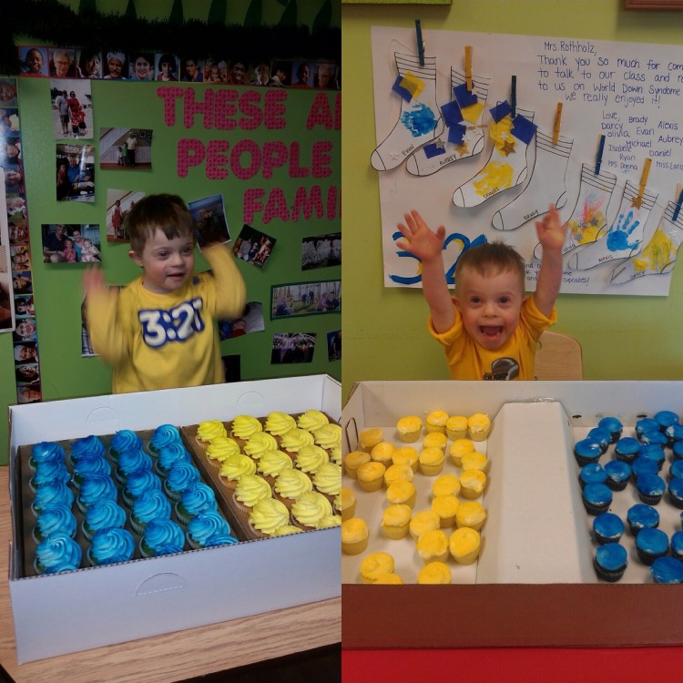 boxes of yellow and blue frosted cupcakes