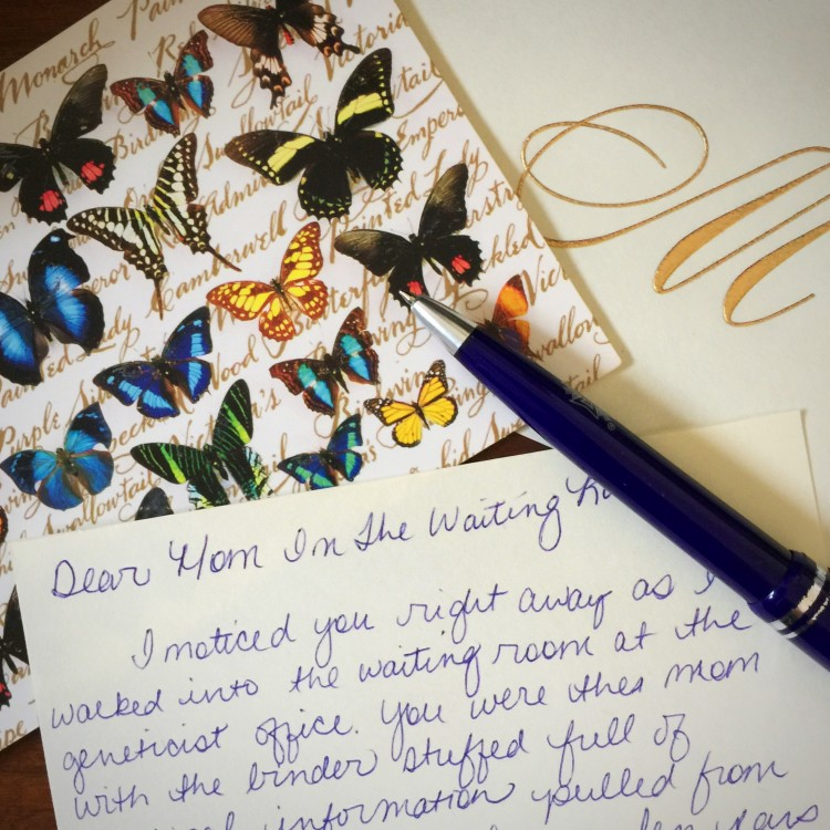 handwritten note on butterfly paper