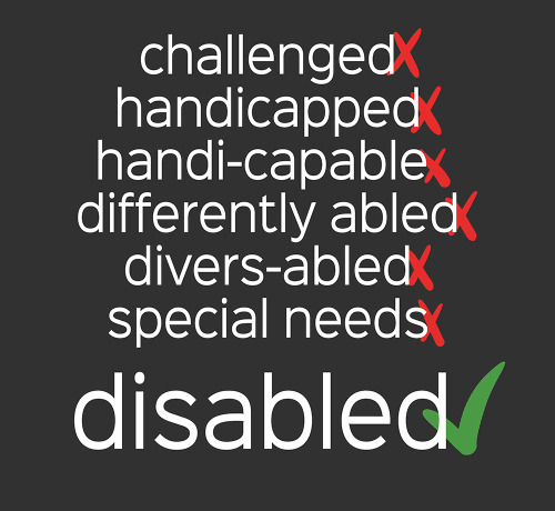 "meme that has exes next to the words ""challenged, handicapped, handi-capable, differently ablbed, diverse-abled, special needs"" and a checkmark next to ""disabled"""