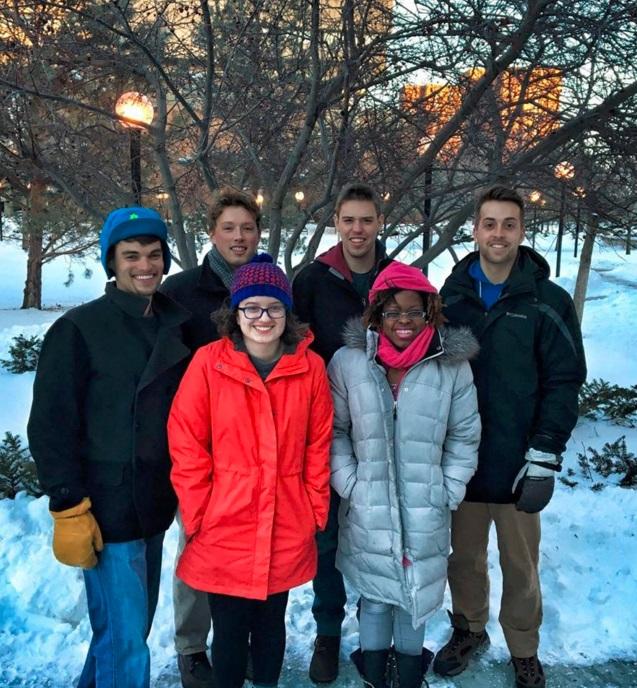 nesel team standing in snow