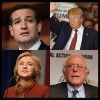 4 images: Top left Ted Cruz, top right Donald Trump, bottom left Hillary Clinton, bottom right Bernie Sanders