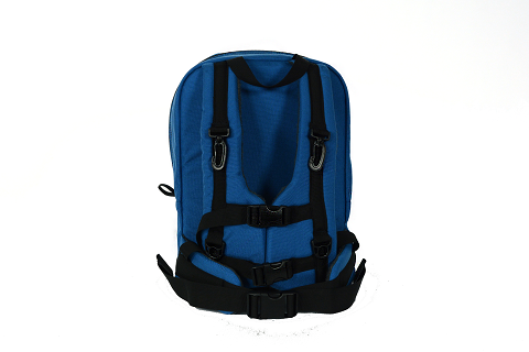 front view of backpack showing multiple straps