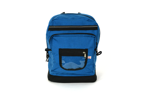 backview of backpack showing personalization window