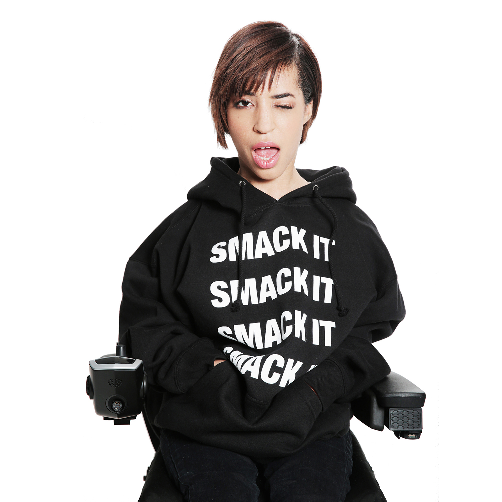"jillian mercado in ""smack it"" sweatshirt"