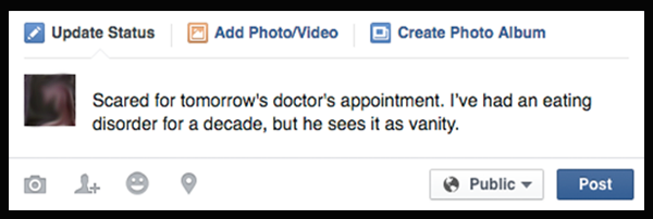 Scared for tomorrow's doctor's appointment. I've had an eating disorder for a decade, but he sees it as vanity.