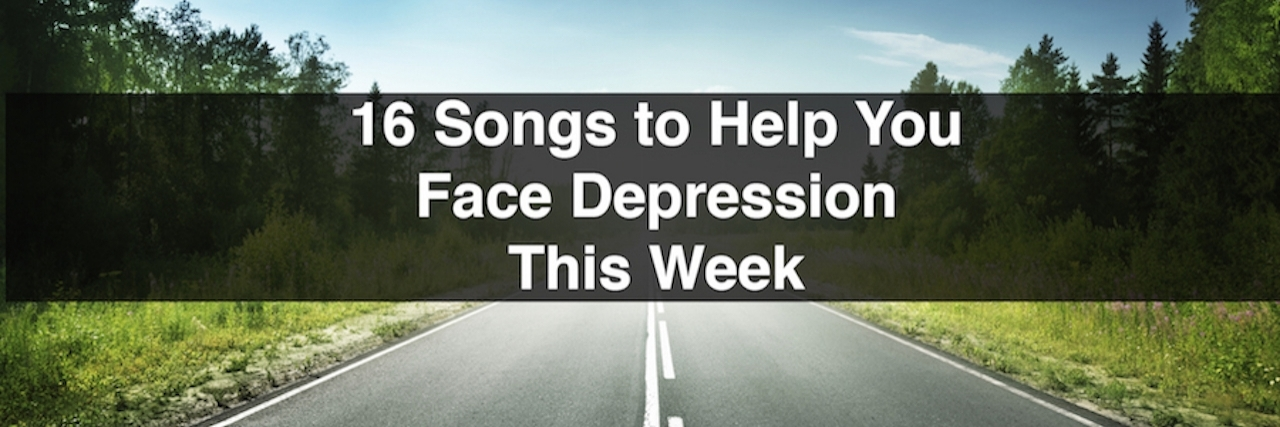 """A meme that says, """"16 Songs to Help You Face Depression This Week"""""""