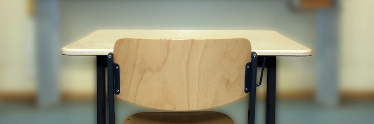 empty desk in classroom