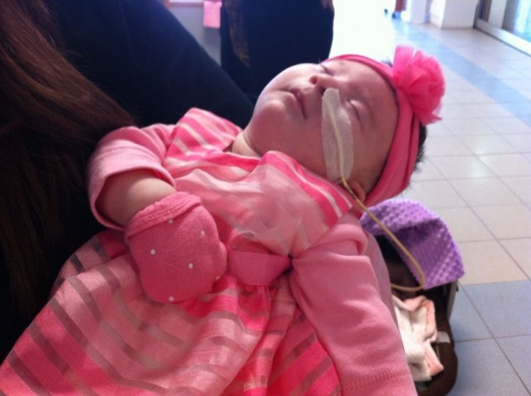 baby girl dressed in hot pink outfit