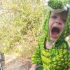 boy kneeling on chair wearing crocodile costume