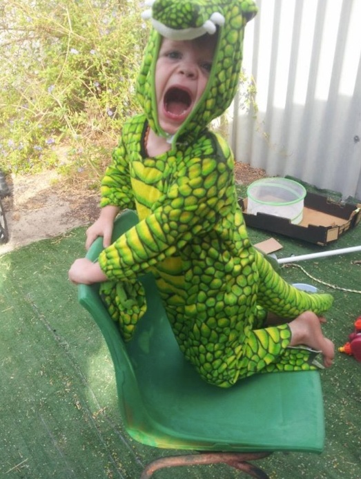 little boy wearing a green crocodile costume