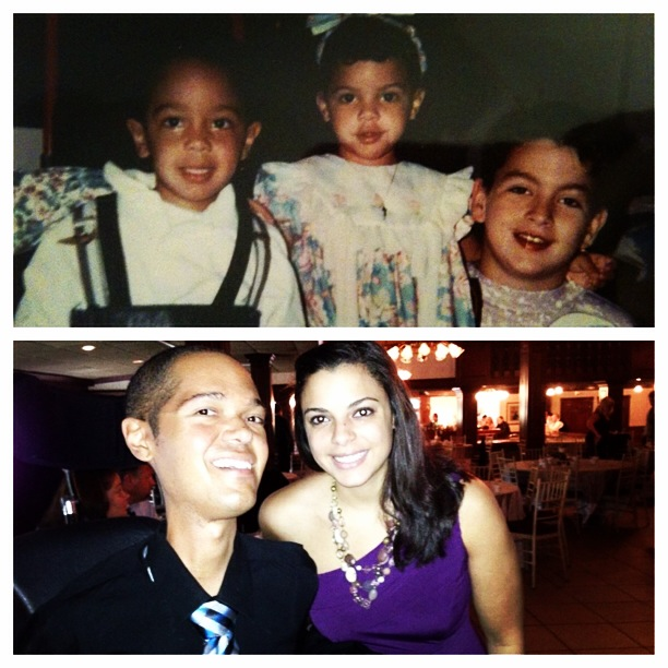 two images; on on top of three siblings when they're young, one on bottom of author with brother