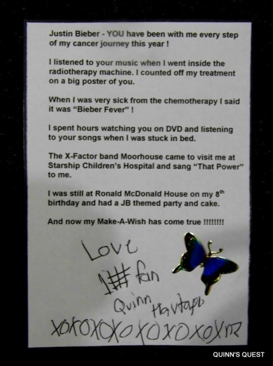 Quinn's letter to Justin Bieber.