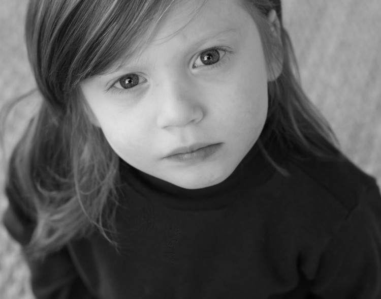 black and white photo of young girl
