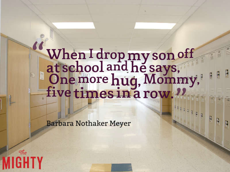 "Photo of school hallway with lockers and the text: ""When I drop my son off at school and he says, 'One more hug, Mommy,' five times in a row."""