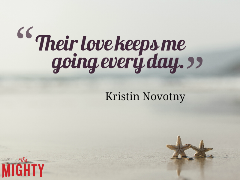 "Two starfish on the sand near water with the text: ""Their love keeps me going every day."" — Kristin Novotny"