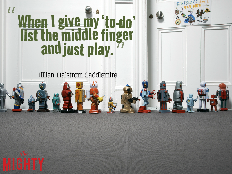 "Photo of toys lined up with the text: """"When I give my 'to-do' list the middle finger and just play."""