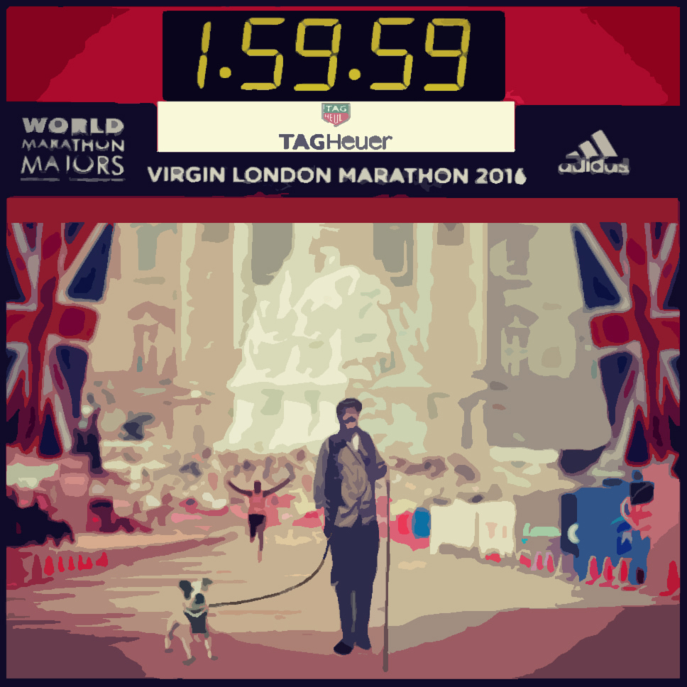 A drawing of a man and a dog walking past the finish line of the 2016 London Marathon