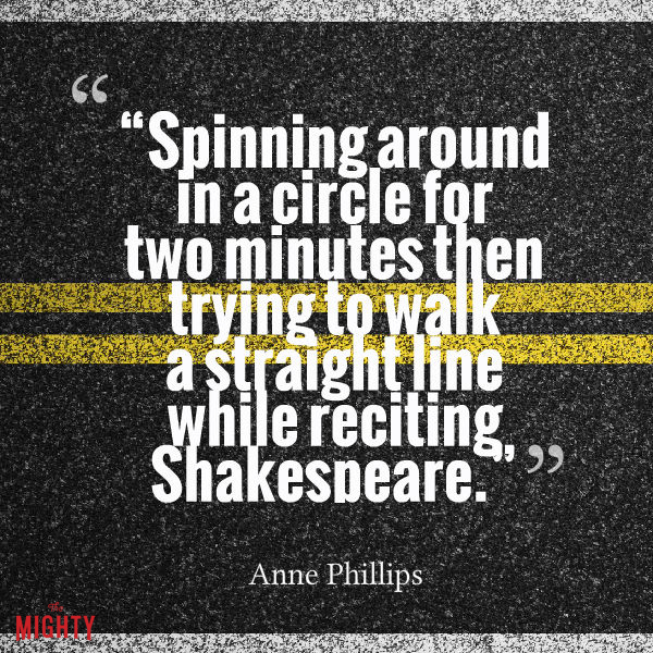 "POTS meme: ""Spinning around in a circle for two minutes then trying to walk a straight line while reciting Shakespeare."""