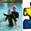 boy and man in pool next to image of puzzle piece