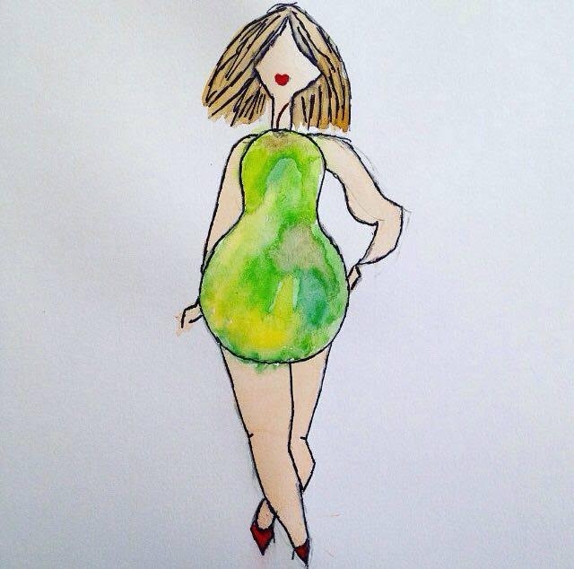 illustration of female body in green dress