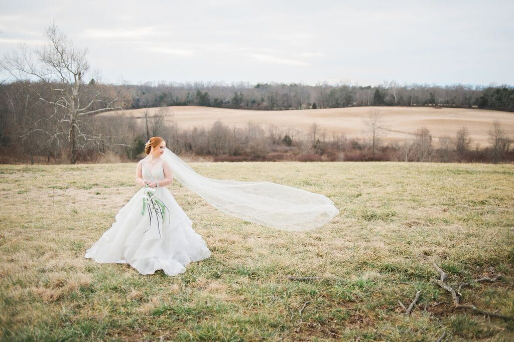 madeline stuart in wedding dress, veil blowing in the wind