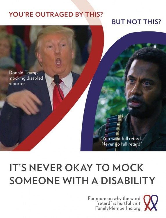 An ad created by Family Member, a nonprofit organization that hopes to eradicate hateful speech about people with disabilities, which is currently running in The Hollywood Reporter.