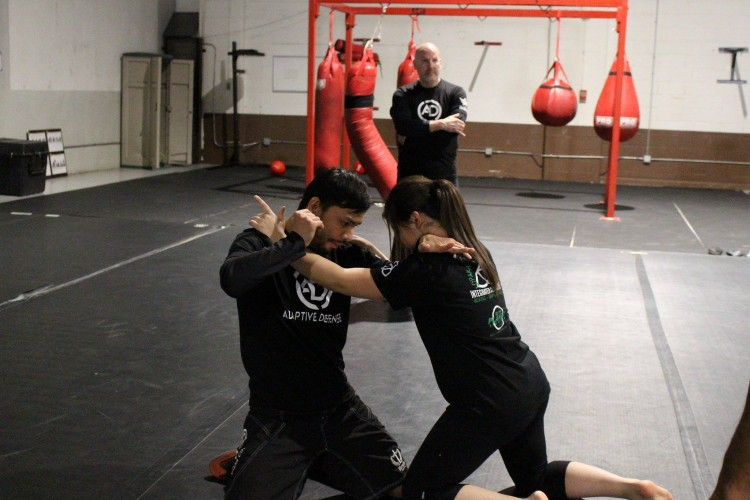 Adaptive self-defense -- two martial arts students grappling