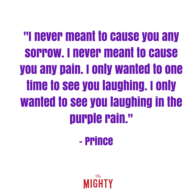 purple lettering that says i never meant to cause you any sorry. i never meant to cause you any pain. i only wanted to one time to see you laughing . i only wanted to see you laughing in the purple rain.