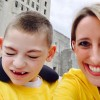 mother and son in yellow shirts