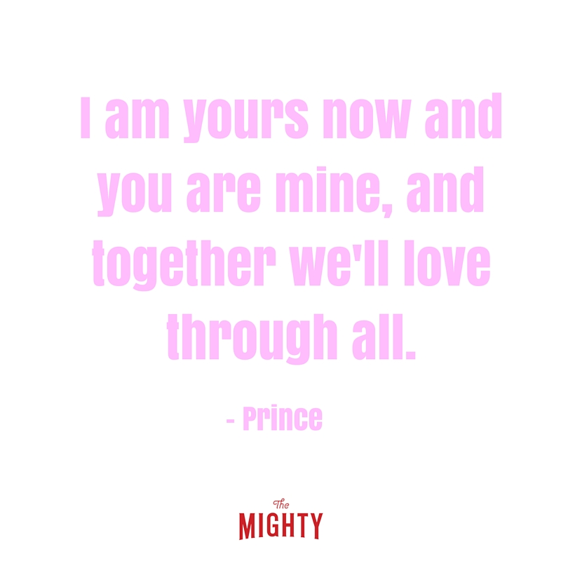 pink letters that read i am yours now and you are mind and together we'll love through all