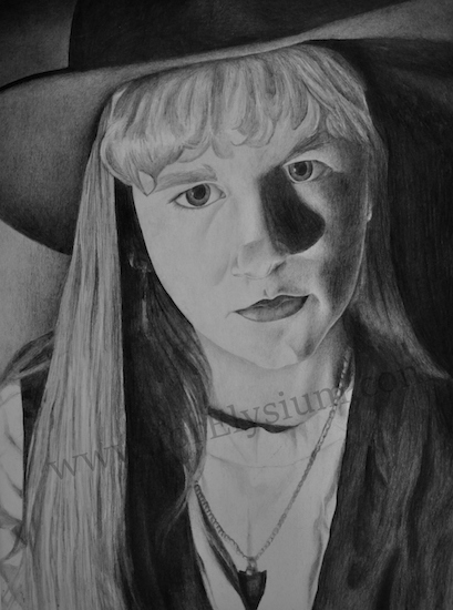 a sketch of a girl with long hair wearing a hat