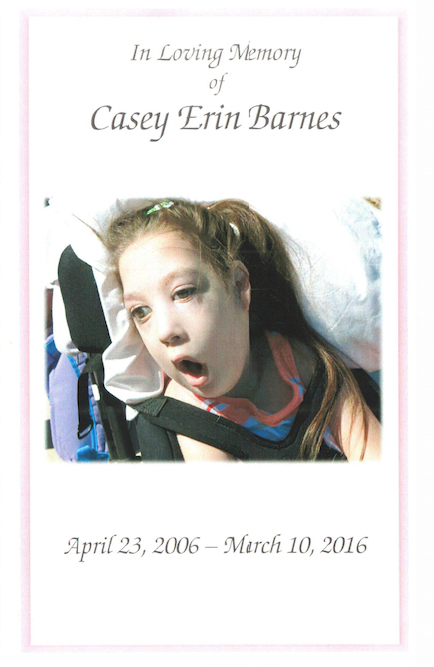 Casey's memorial service: In loving memory of Casey Barnes, April 23 2006-March 10, 2016