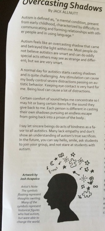 article in school newspaper written by nonverbal teen with autism