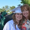 mom and college graduate daughter on graduation day