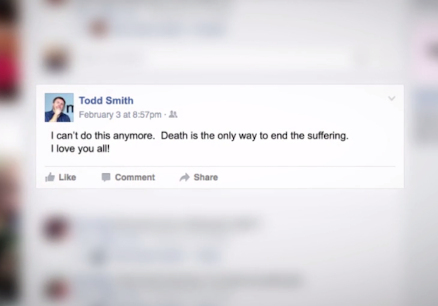 A Facebook post that reads: I can't do this anymore. Death is the only way to end the suffering. I love you all!