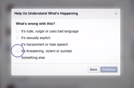 Text box with the options, It's rude, vulgar or uses bad language, It's sexually explicit, It's harassment or hate speech, It's threatening, violent or suicidal, something else. The option, it's threatening, violent or suicidal is selected.
