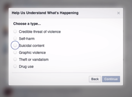Text box reads Choose a type. Options are Credible threat of violence, self-harm, suicidal content, graphic violence, theft or vandalism, drug use. Suicidal content is selected.