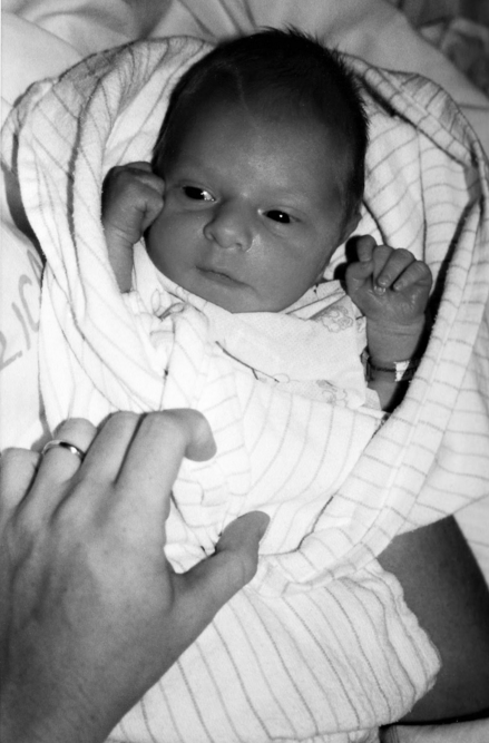 A black and photo of Liza's song as a baby.