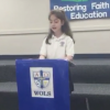 keira giving her speech at school