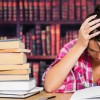 stressed student in the library