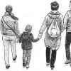 family strolling