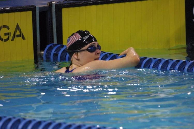 Beth swimming.