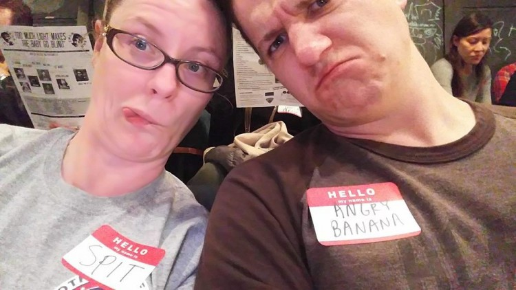 The author and her husband wearing name tags.