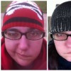 two photos side by side of woman wearing ski hat and glasses