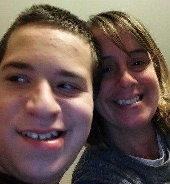author and her son smiling